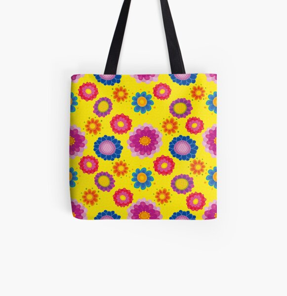 Yellow Floral Pattern All Over Print Tote Bag