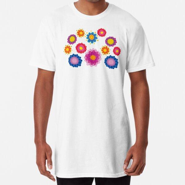 Yellow Floral Pattern Long T-Shirt