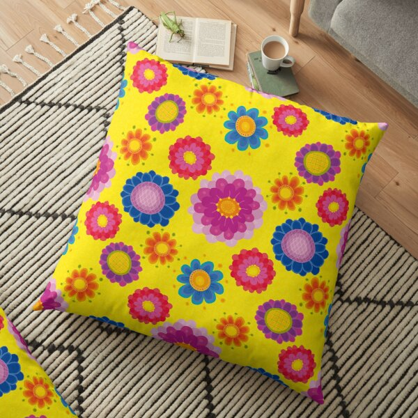 Yellow Floral Pattern Floor Pillow