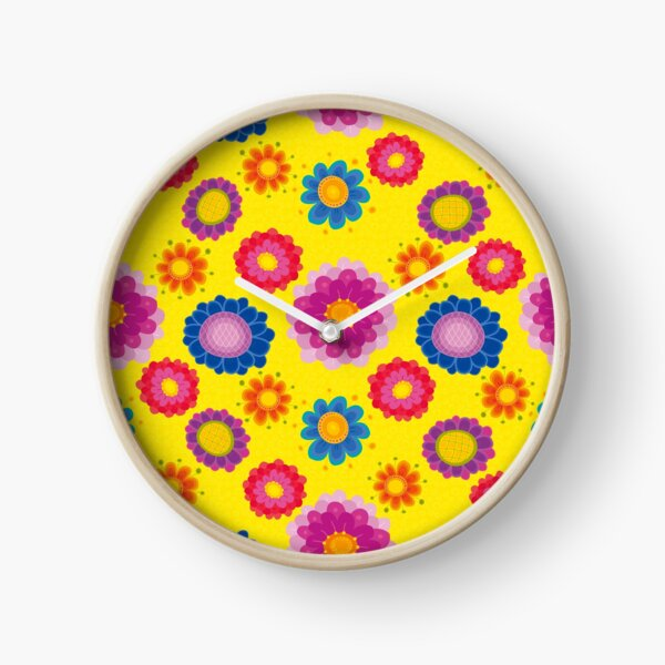 Yellow Floral Pattern Clock