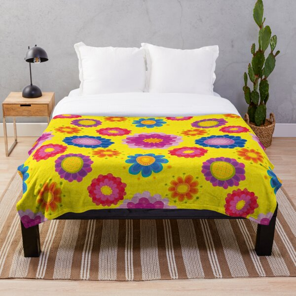 Yellow Floral Pattern Throw Blanket