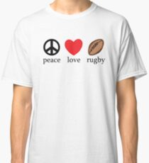 """Rugby """"Peace Love Rugby"""" Classic T-Shirt"""