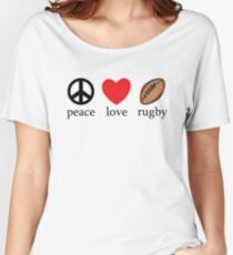 """Rugby """"Peace Love Rugby"""" Women's Relaxed Fit T-Shirt"""