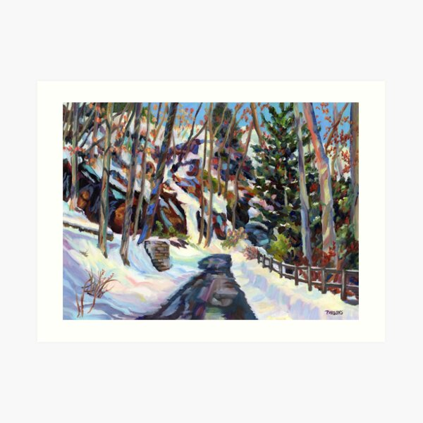 Winter Color. Impressionist oil painting of a road through a snow covered landscape in Pennsylvania. Art Print
