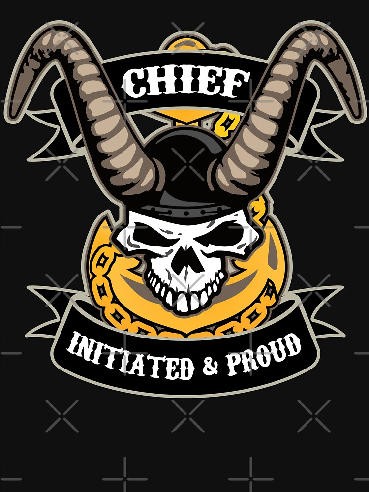 Navy Chief - Initiated and Proud with Skull, Old Goat Horns and Anchor by hobrath