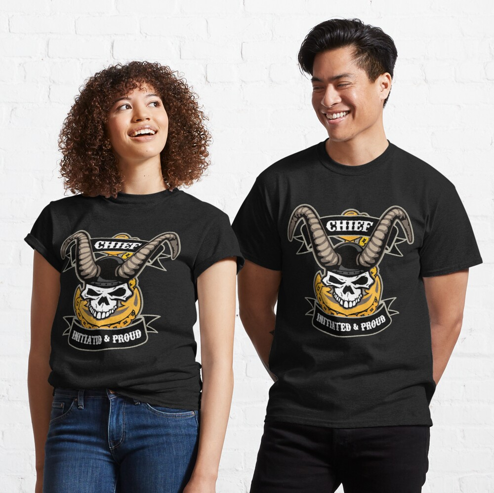 Navy Chief - Initiated and Proud with Skull, Old Goat Horns and Anchor Classic T-Shirt
