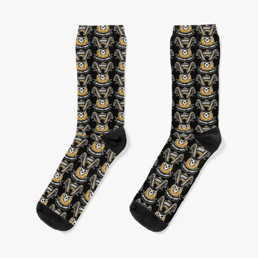 Navy Chief - Initiated and Proud with Skull, Old Goat Horns and Anchor Socks