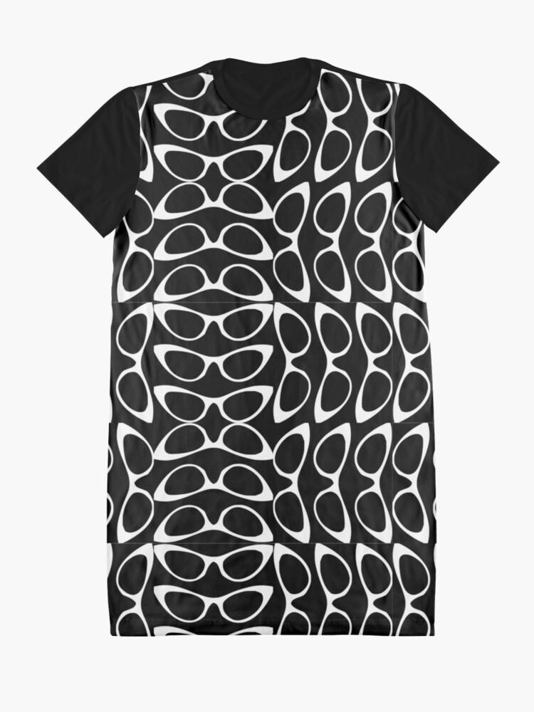Alternate view of Crazy Sassy Cool Cat Eyes Black & White Graphic T-Shirt Dress