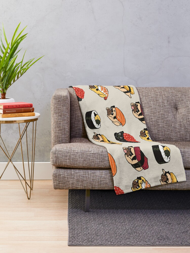 Alternate view of Sushi Pug Throw Blanket