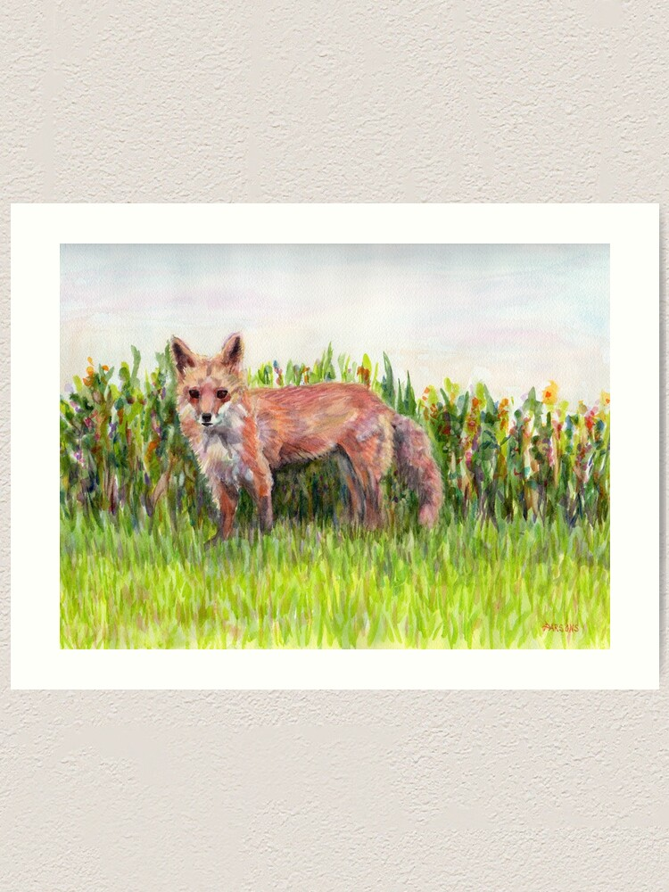 Alternate view of Fantastic Ms Fox, from watercolor painting of a mother red fox in Pennsylvania. by Pamela Parsons Art Print