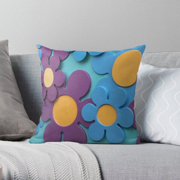 Groovy flowers, 60'S theme  Throw Pillow