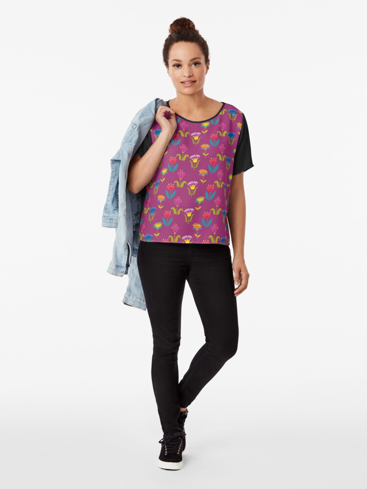 Alternate view of Floral Pattern Chiffon Top