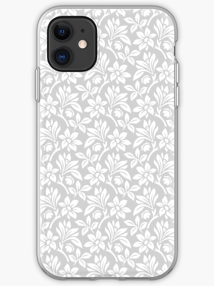 Light Grey Vintage Wallpaper Style Flower Patterns Iphone Case Cover By Imagenugget Redbubble
