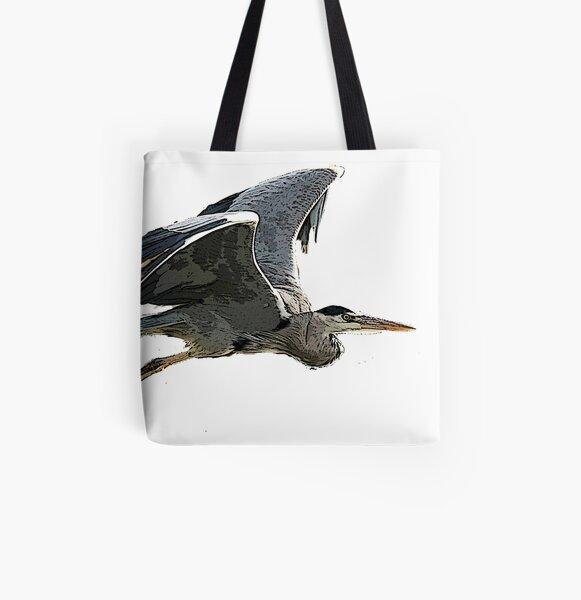 Heron In Flight All Over Print Tote Bag