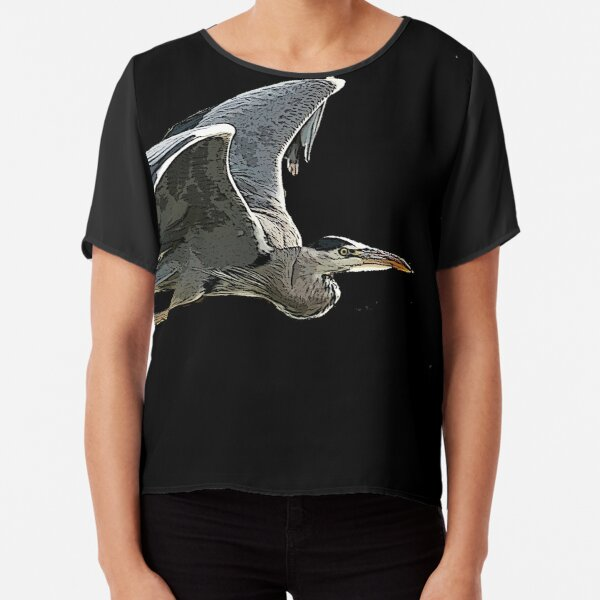 Heron In Flight Chiffon Top