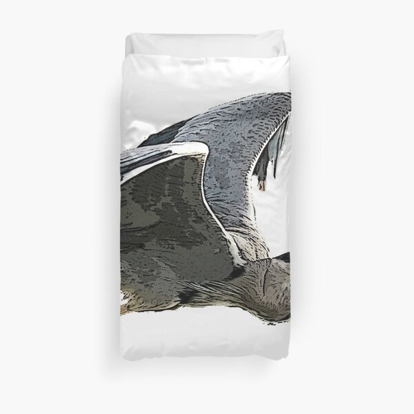 Heron In Flight Duvet Cover