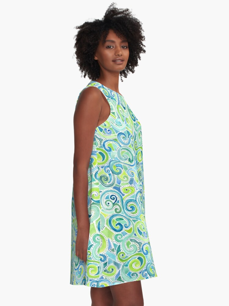 Alternate view of Swirly Spiral Watercolor A-Line Dress