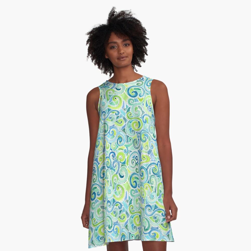Swirly Spiral Watercolor A-Line Dress