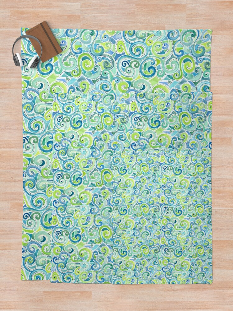 Alternate view of Swirly Spiral Watercolor Throw Blanket
