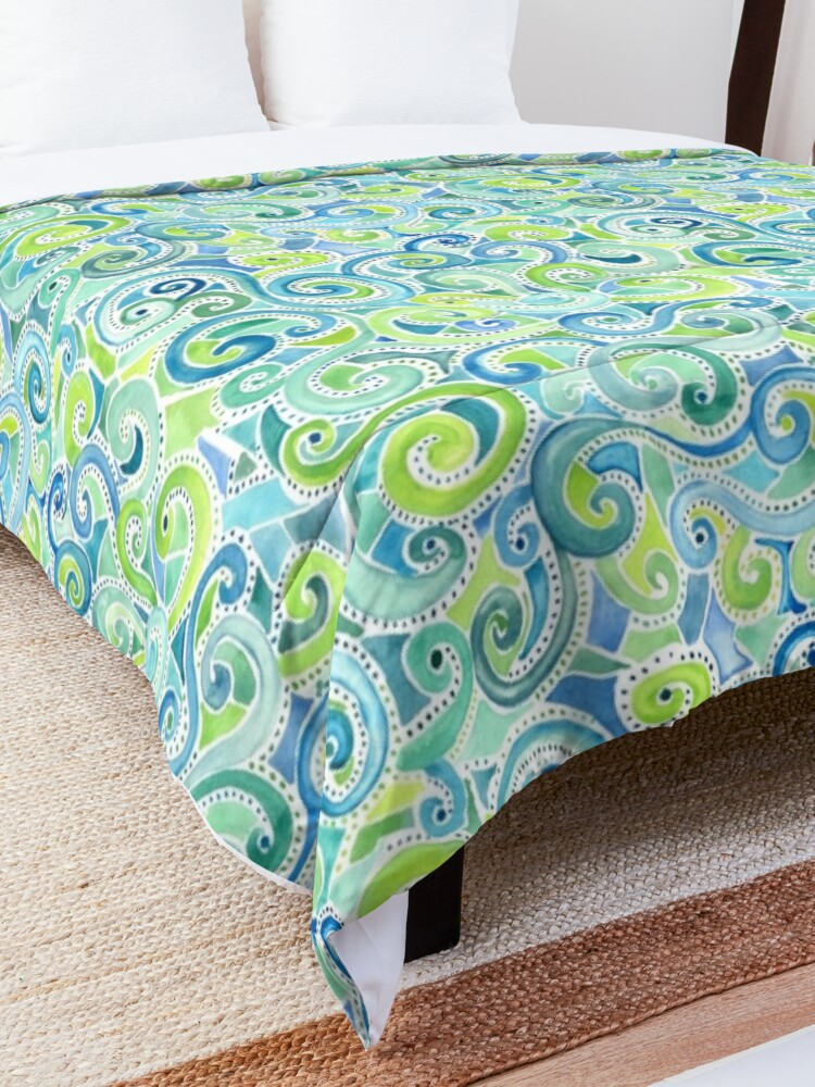Alternate view of Swirly Spiral Watercolor Comforter
