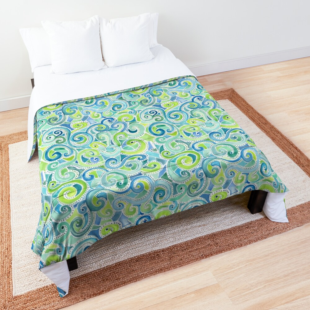 Swirly Spiral Watercolor Comforter