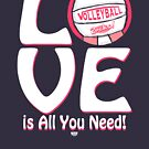 Pink Volleyball Love is All You Need by MudgeStudios