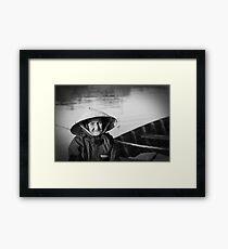 Vietnam - Begger on canoe in Hoi Ann Framed Print