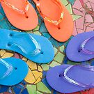 """""""Flip Out Color"""" - flip flops on top of colorful tile by ArtThatSmiles"""