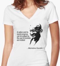 Gandhi Animal Rights T-Shirt Women's Fitted V-Neck T-Shirt