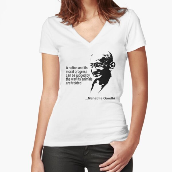 Gandhi Animal Rights Fitted V-Neck T-Shirt