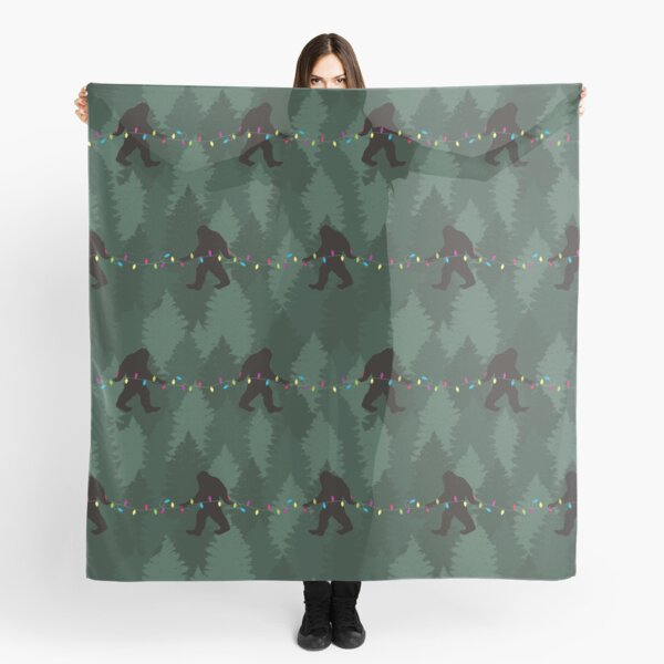 Bigfoot Forest Christmas Tree Lights Pattern Scarf