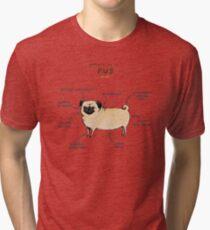 Anatomy of a Pug Tri-blend T-Shirt