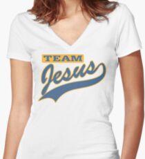 """Christian """"Team Jesus"""" Women's Fitted V-Neck T-Shirt"""