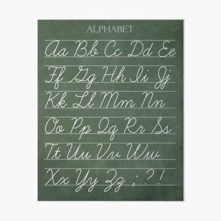 Vintage Alphabet Chalkboard Poster - Cursive Art Board Print