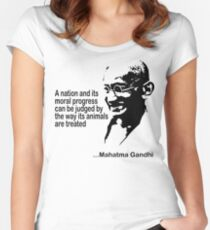 Animal Rights Mahatma Gandha Women's Fitted Scoop T-Shirt