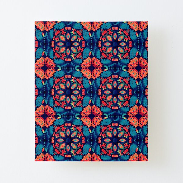 Orange and Blue Tile Canvas Mounted Print