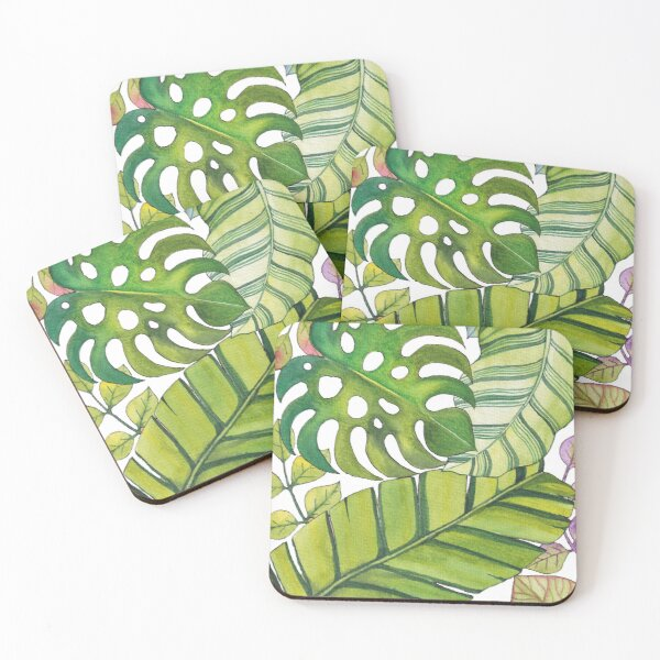 Tropical Leaves Art In Watercolor  Coasters (Set of 4)