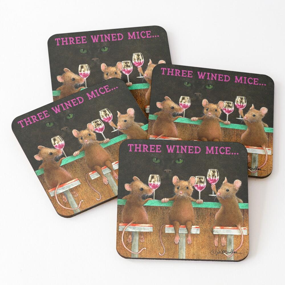 Will Bullas / coasters / three wined mice... / animals Coasters (Set of 4)