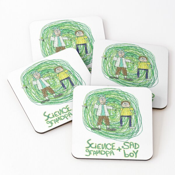 Science Grandpa and Sad Boy Coasters (Set of 4)