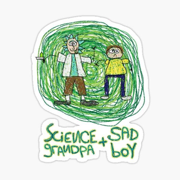 Science Grandpa and Sad Boy Sticker
