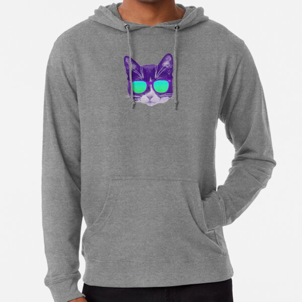 Cool Cat with Sunglasses Lightweight Hoodie