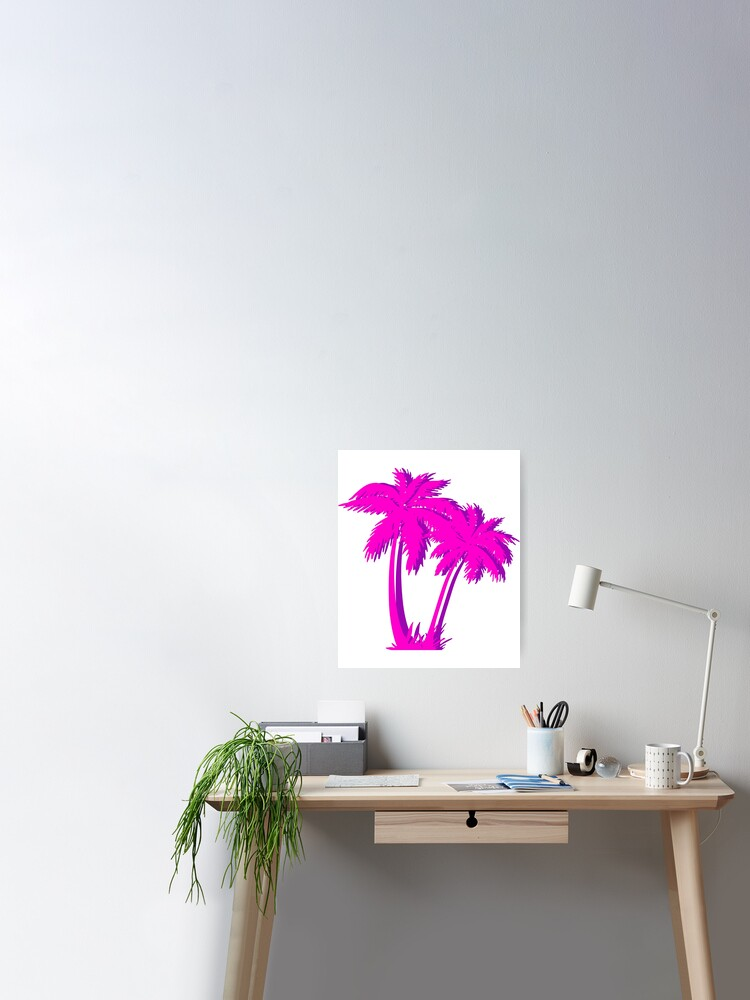 Vaporwave Pink Palm Tree Gift Aesthetic Style Palm Beach Poster By D C Designs Redbubble