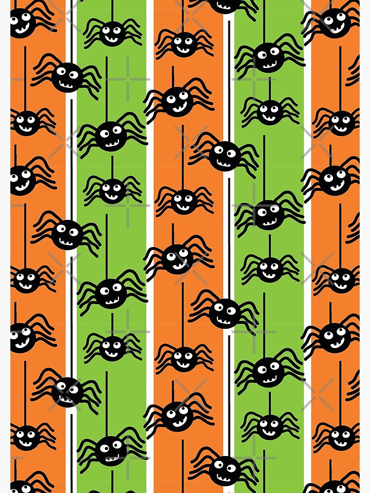 Halloween Spiders Dangling Orange and Green by creativinchi