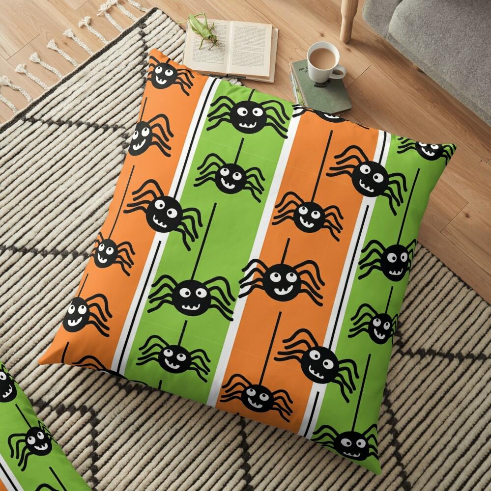 Halloween Spiders Dangling Orange and Green Floor Pillow