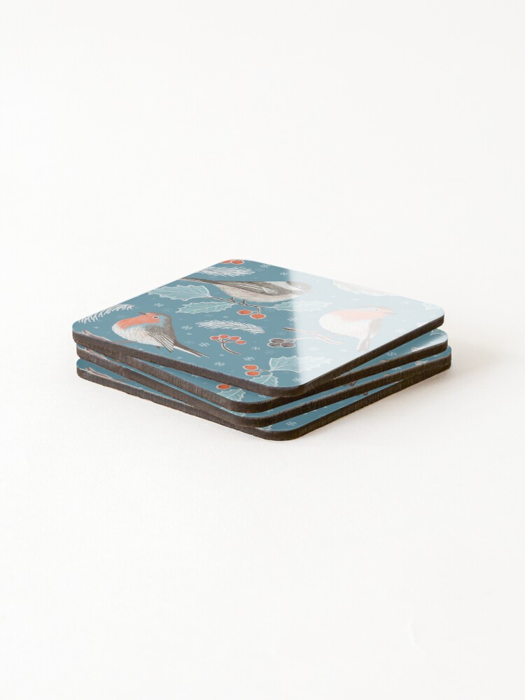 Alternate view of Winter Birds (with stickers) Coasters (Set of 4)
