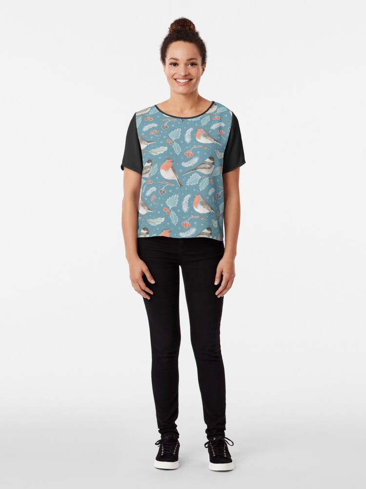 Alternate view of Winter Birds (with stickers) Chiffon Top