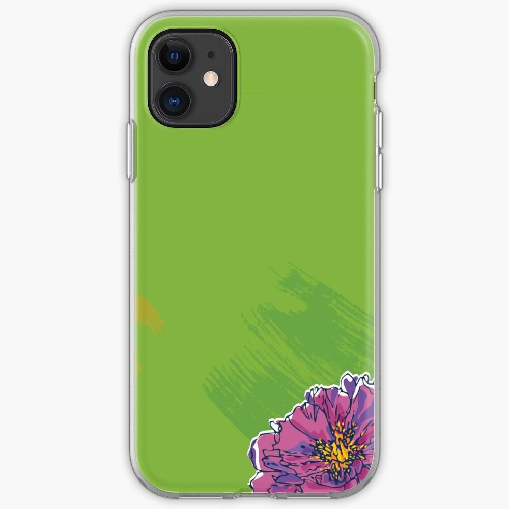 Purple Flower on Green iPhone Soft Case