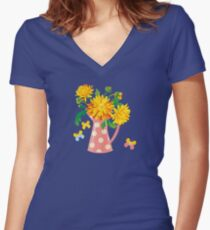 Autumn Chrysanthemums Fitted V-Neck T-Shirt