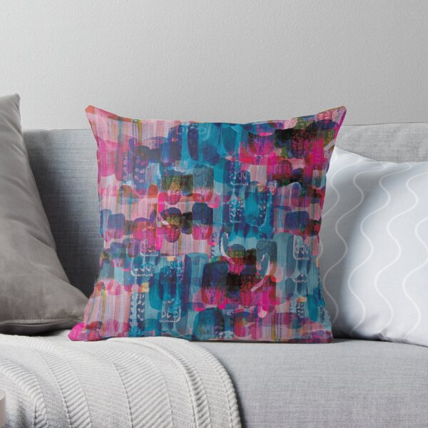 Magenta Blue Painterly Shapes Throw Pillow