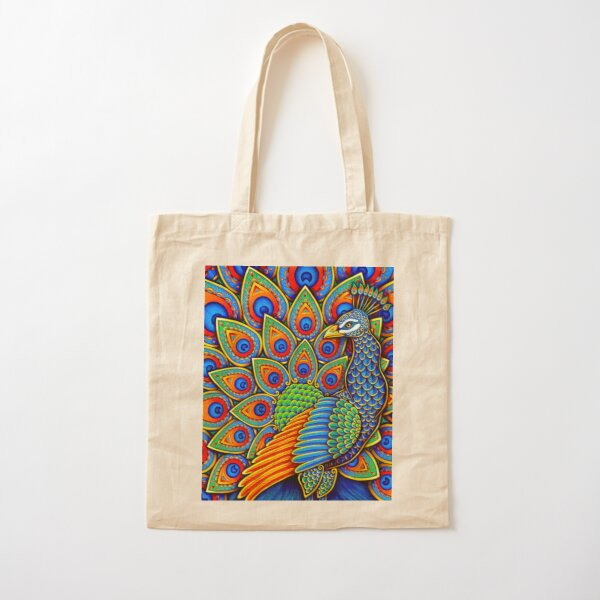 Colorful Paisley Peacock Rainbow Bird Cotton Tote Bag